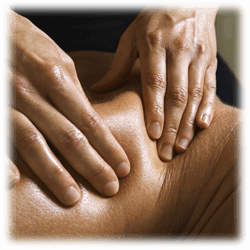 A woman, performing a deep tissue massage